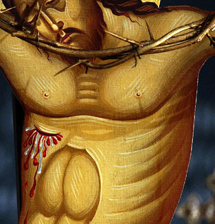 Trails left over from a fluid substance can be seen on the torso of the crucifix at St. Nicholas Greek Orthodox Church